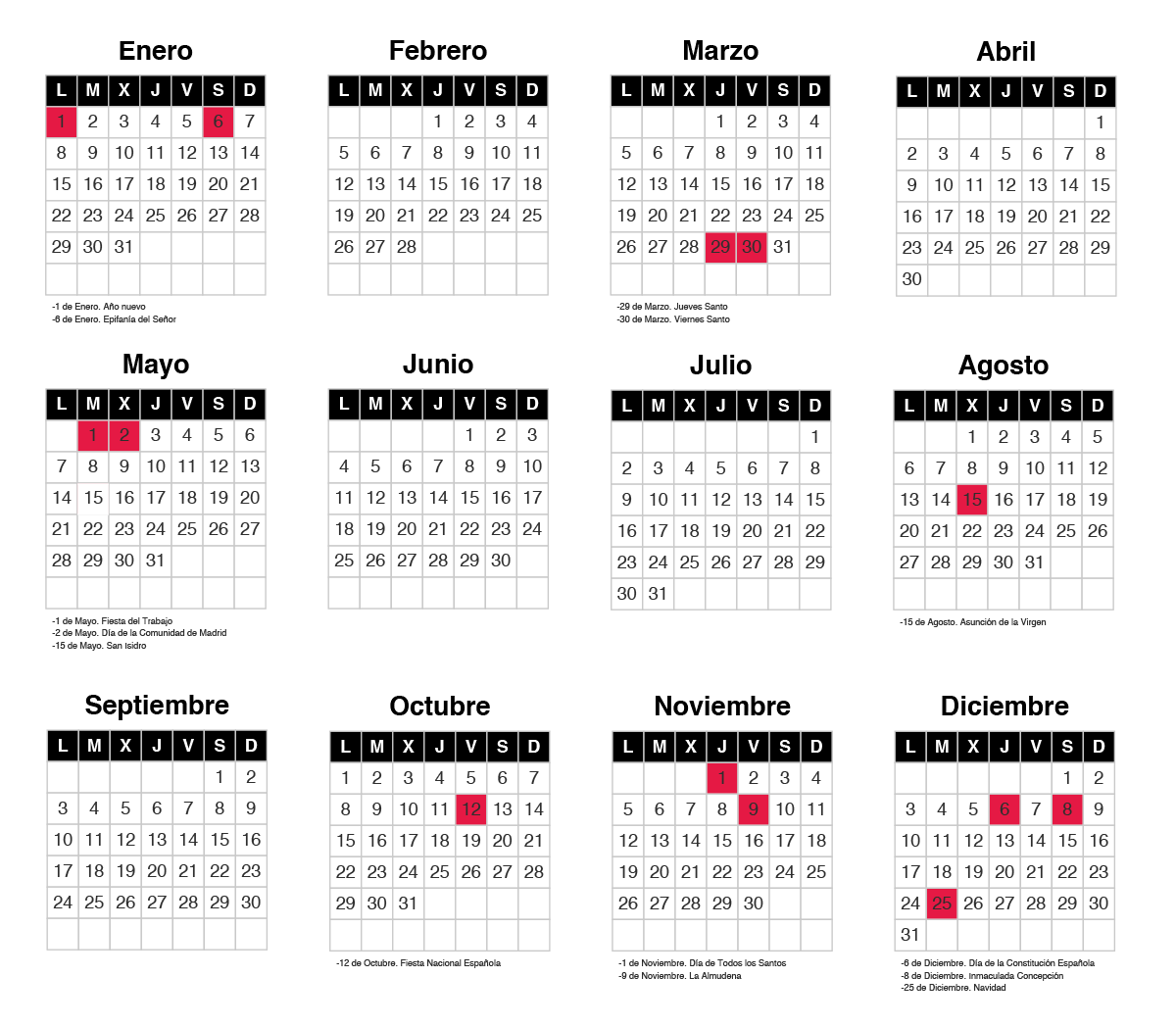 Calendario laboral de la comunidad de madrid forislex for Calendario eventos madrid