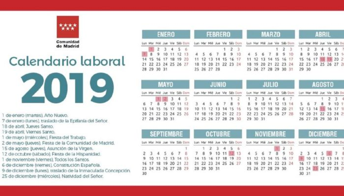 Calendario Laboral de la Comunidad de Madrid 2019